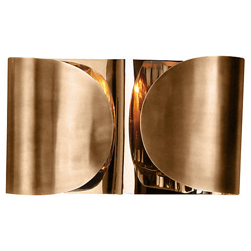 Folded Sconce, Antiqued Brass