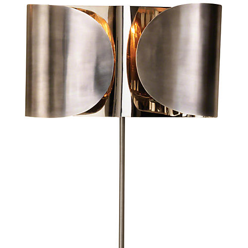Hardwired Folded Sconce, Antiqued Nickel