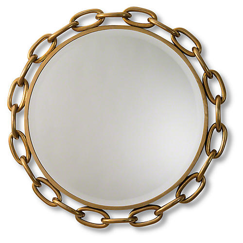 "Linked 40"" Wall Mirror, Gold"
