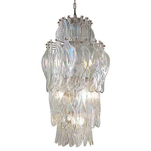 Winged Chandelier, Clear/Nickel