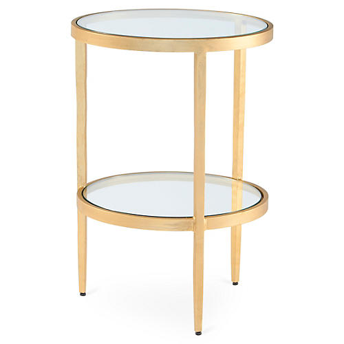 Laforge Two-Tiered Side Table, Gold