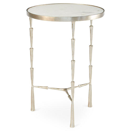 Spike Round Marble Side Table, Nickel