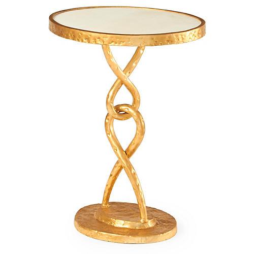 Loop De Loop Round Side Table, Gold