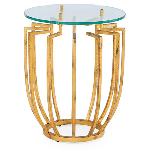 Spoke Round Side Table, Hammered Gold