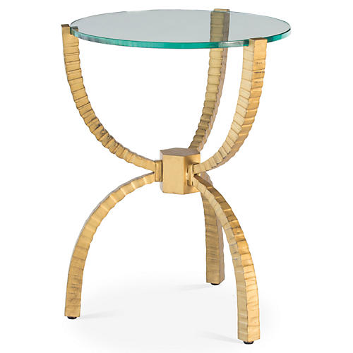 Teton Round Side Table, Gold