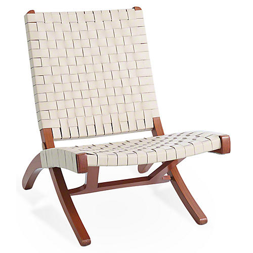 Safari Folding Chair, Ivory Leather