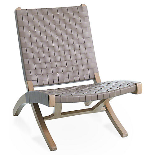 Safari Folding Chair, Gray Leather