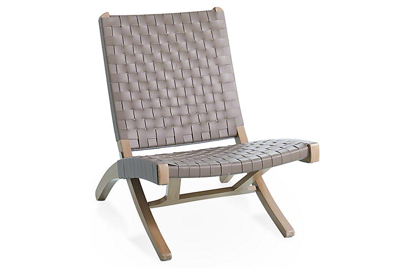 Safari Folding Chair - Gray Leather - Global Views
