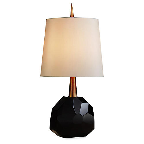 Gem Table Lamp, Black/Polished Brass
