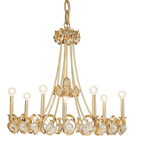 Jewel Tangle Chandelier, Polished Brass