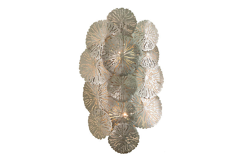 Lily Pad Wall Sconce, Antiqued Nickel