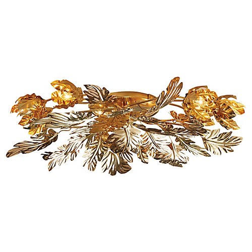 Dancing Leaves Flush Mount, Brass