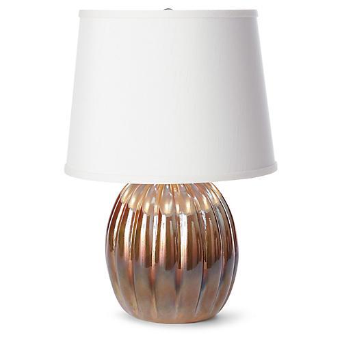 Ribbed Table Lamp, Pearl Amber