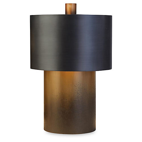 Tortoise Drum Lamp, Antiqued Zinc