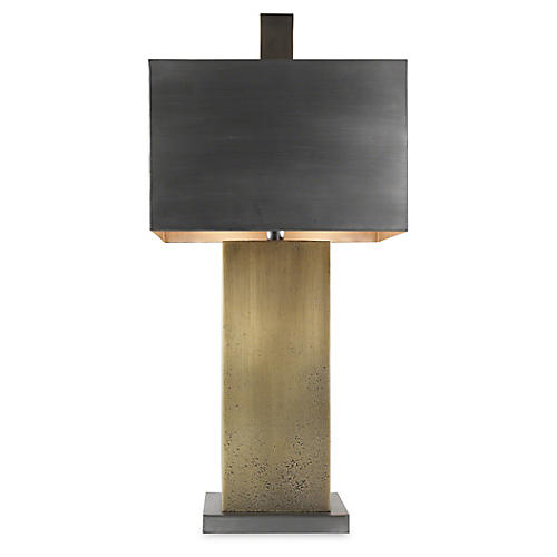 Tortoise Table Lamp, Antiqued Zinc