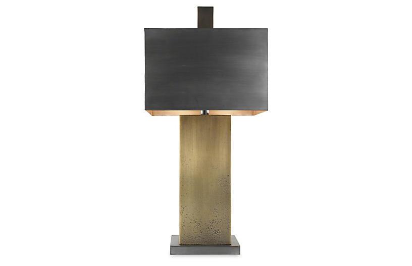 Tortoise Table Lamp, Antiqued Zinc