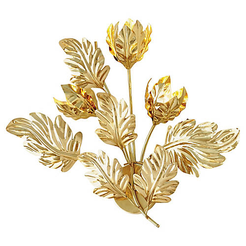 Dancing Leaves Sconce, Polished Brass