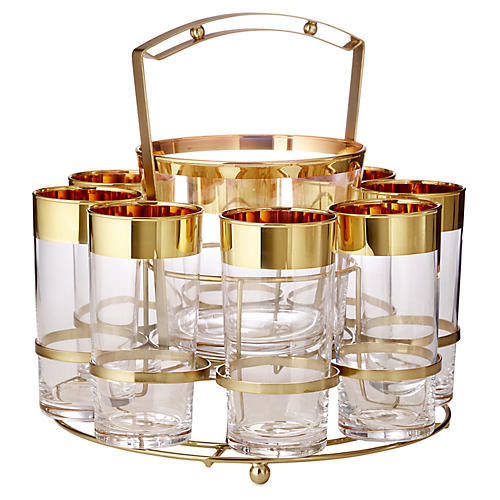 24-kt Banded Set Drink Caddy Set, Gold/Clear