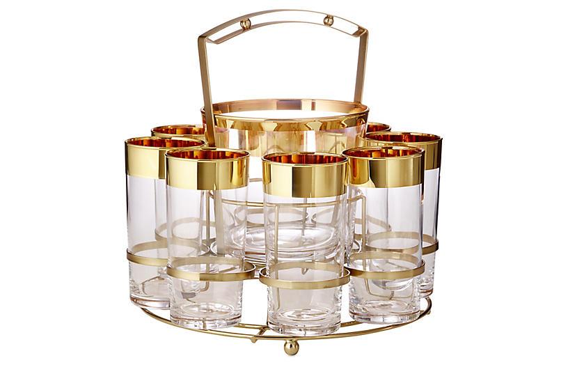 24-kt Banded Set Drink Caddy Set, Gold/Clear