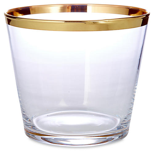 24-kt Banded Ice Bucket, Gold/Clear