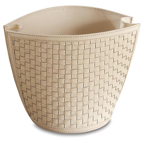 """14"""" Woven Wastebasket, Ivory"""