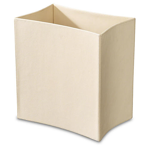 "13"" Folded Leather Wastebasket, Ivory"