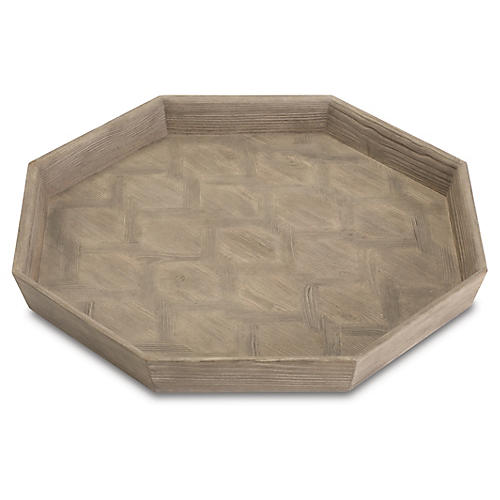 "24"" Decorative Parquet Tray, Gray/Brown"