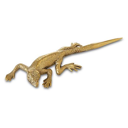 "8"" Lizard Letter Opener, Brass"