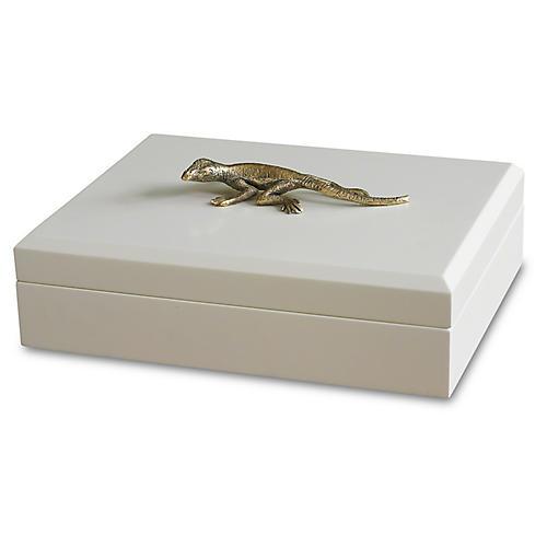 "13"" Decorative Lizard Box, White/Gold"