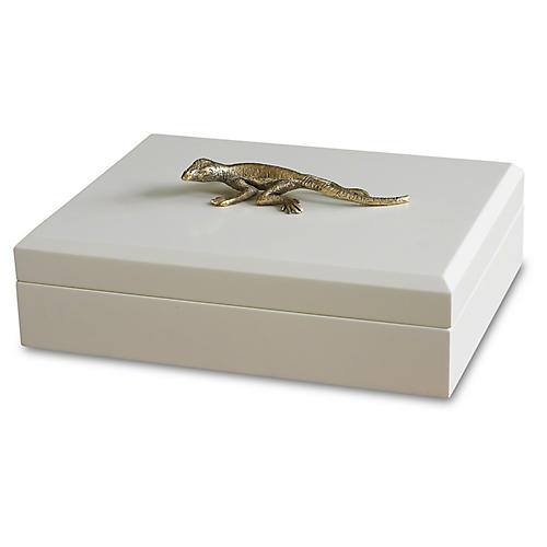 "13"" Decorative Lizard Box, White/Gold"