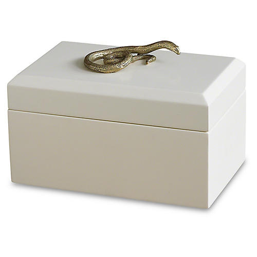 "8"" Decorative Snake Box, White/Gold"