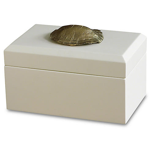 "8"" Decorative Turtle Shell Box, White"