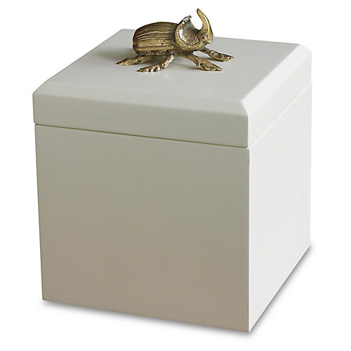 "9"" Decorative Beetle Box, White/Gold"