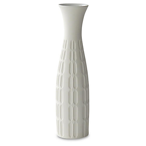 "15"" Decorative Malin Vase, White"