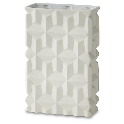 """10"""" Decorative Gunner Vase, White"""