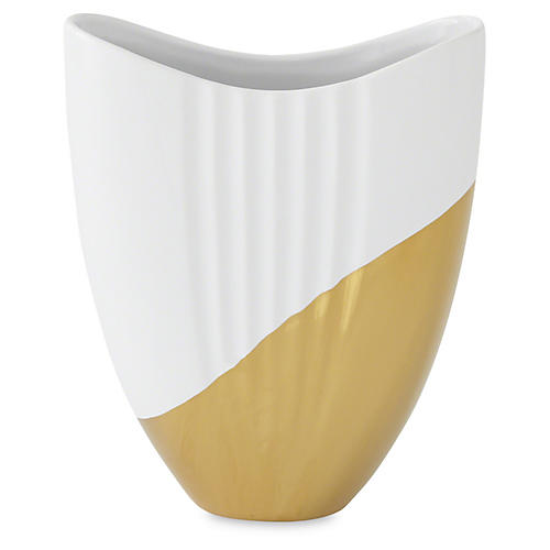 "9"" Metallic-Dipped Oval Vase, Gold/White"