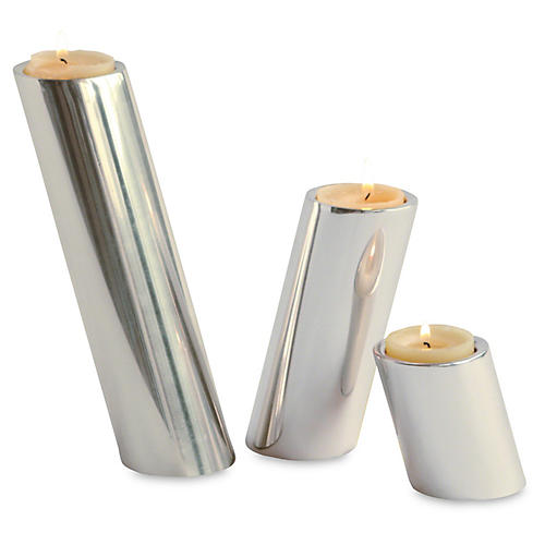 S/3 Slanted Candleholders, Nickel