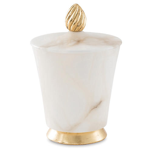 "9"" Arco-Lidded Vessel, White/Gold"