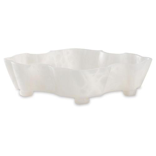 """16"""" Decorative Quatra Bowl, White"""