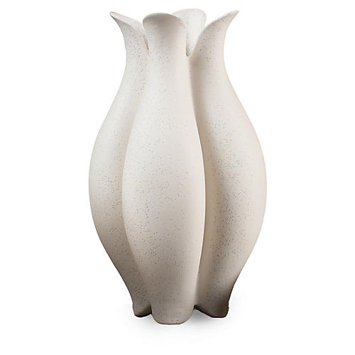 "17"" Pebble Vase, Pebble White"