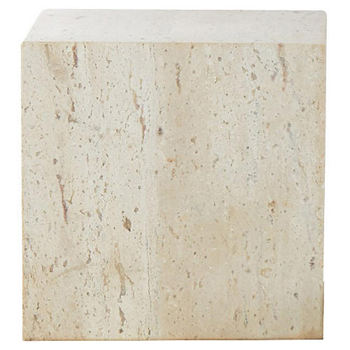 "6"" Travertine Cube Riser, Tan"