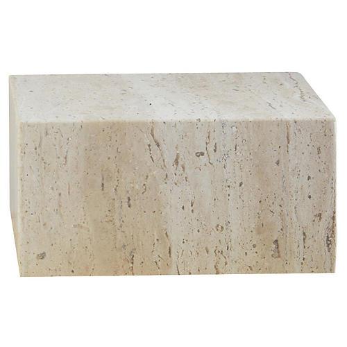 "8"" Travertine Cube Riser, Tan"