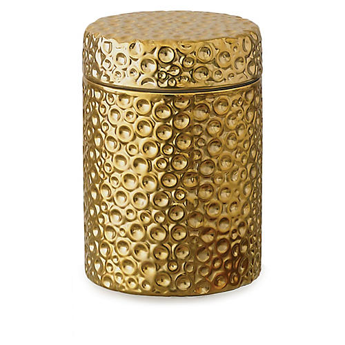"5"" Moonscape Jar Candle, Gold"