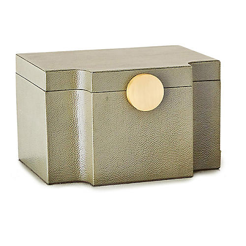 "10"" Pebbled Serpentine Box, Olive"