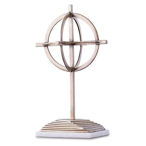 Axis Sculpture, Antiqued Brass