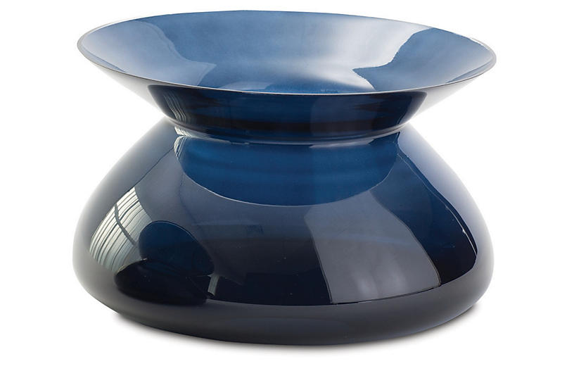 Chic Collar Vase, Midnight Blue