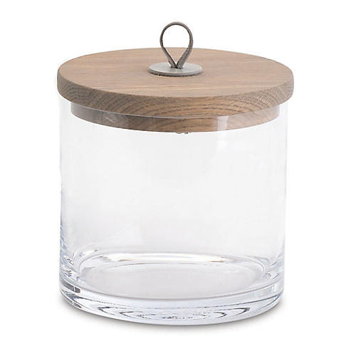 "9"" Squat Rustic Canister, Clear/Umber"