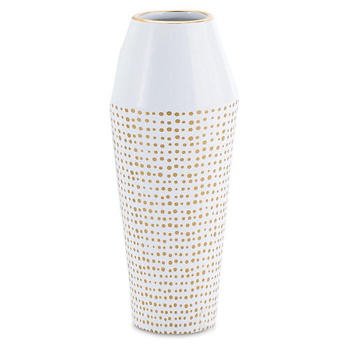 "10"" Dot Ballinger Vase, White/Gold"