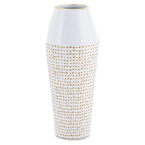 """10"""" Dot Ballinger Vase, White/Gold"""
