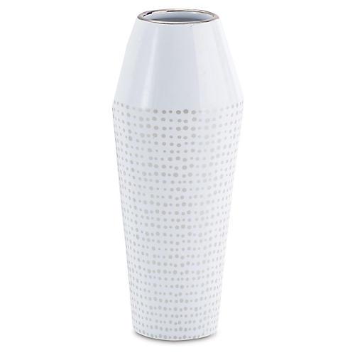 """10"""" Dot Ballinger Vase, White/Silver"""